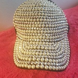 Pearl blinged out womans baseball cap nwot